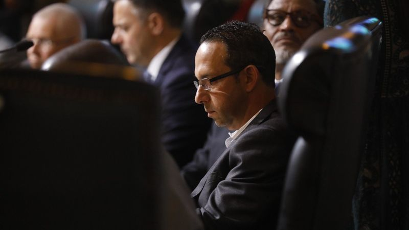 In early December 2018, Los Angeles City Councilman Mitchell Englander sits in council chambers at City Hall. (Credit: Genaro Molina / Los Angeles Times)