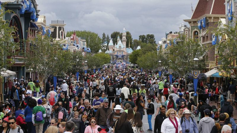 Disneyland visitors crowd the theme park's streets in an undated photo. (Credit: Allen J. Schaben / Los Angeles Times)