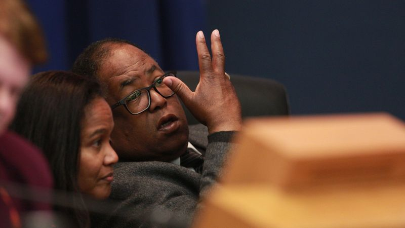 In January 2019, L.A. County Supervisor Mark Ridley-Thomas speaks at a Board of Supervisors meeting. (Credit: Kirk McKoy / Los Angeles Times)