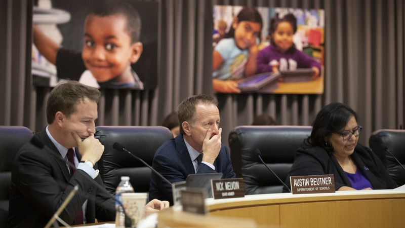 LAUSD board member Nick Melvoin, Austin Beutner and Monica Garcia appear in a meeting in this undated photo. (Credit: Allen J. Schaben / Los Angeles Times)