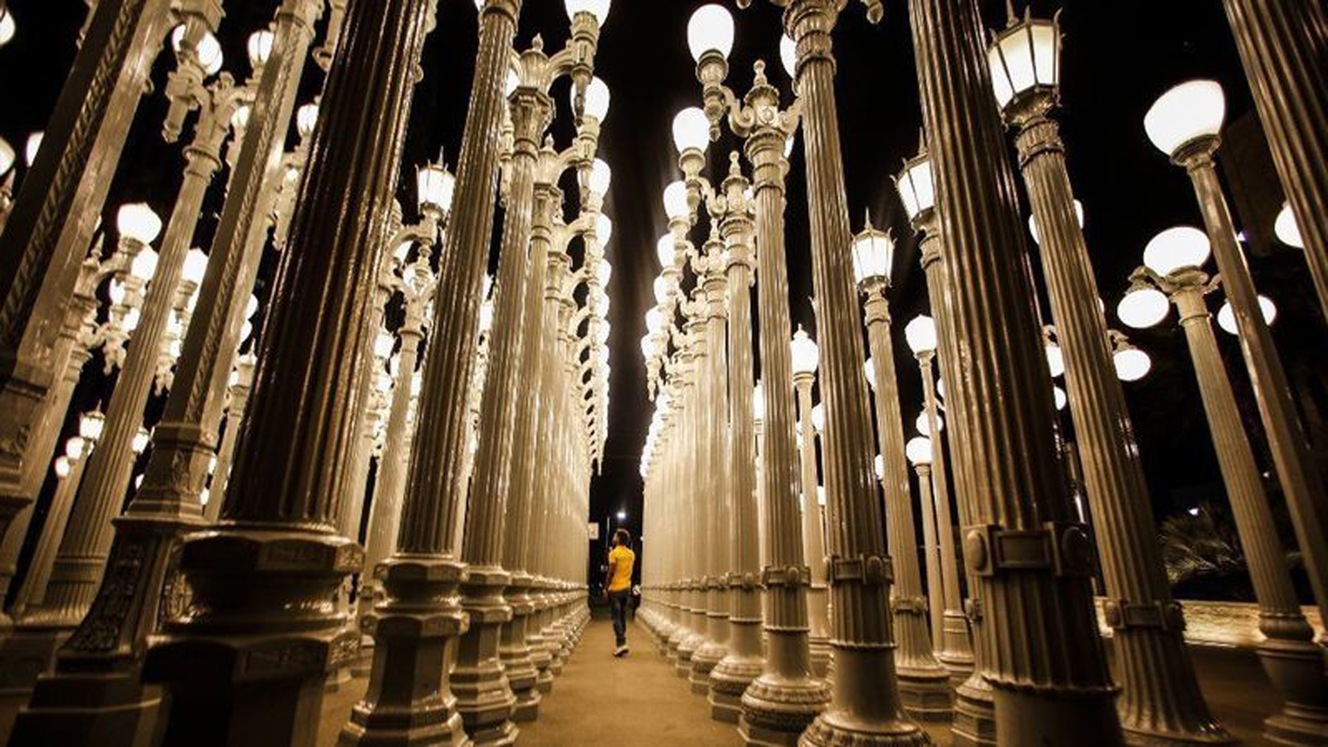 "Chris Burden's ""Urban Light"" installation at LACMA is seen in this file photo. (Credit: Los Angeles Times)"
