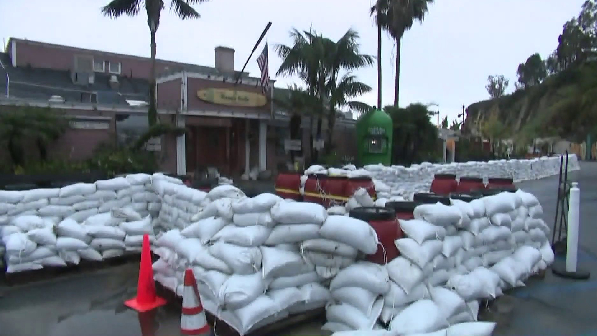 Sandbags were placed outside a business in Malibu as heavy rain was forecast to hit the area on Jan. 16, 2019. (Credit: KTLA)