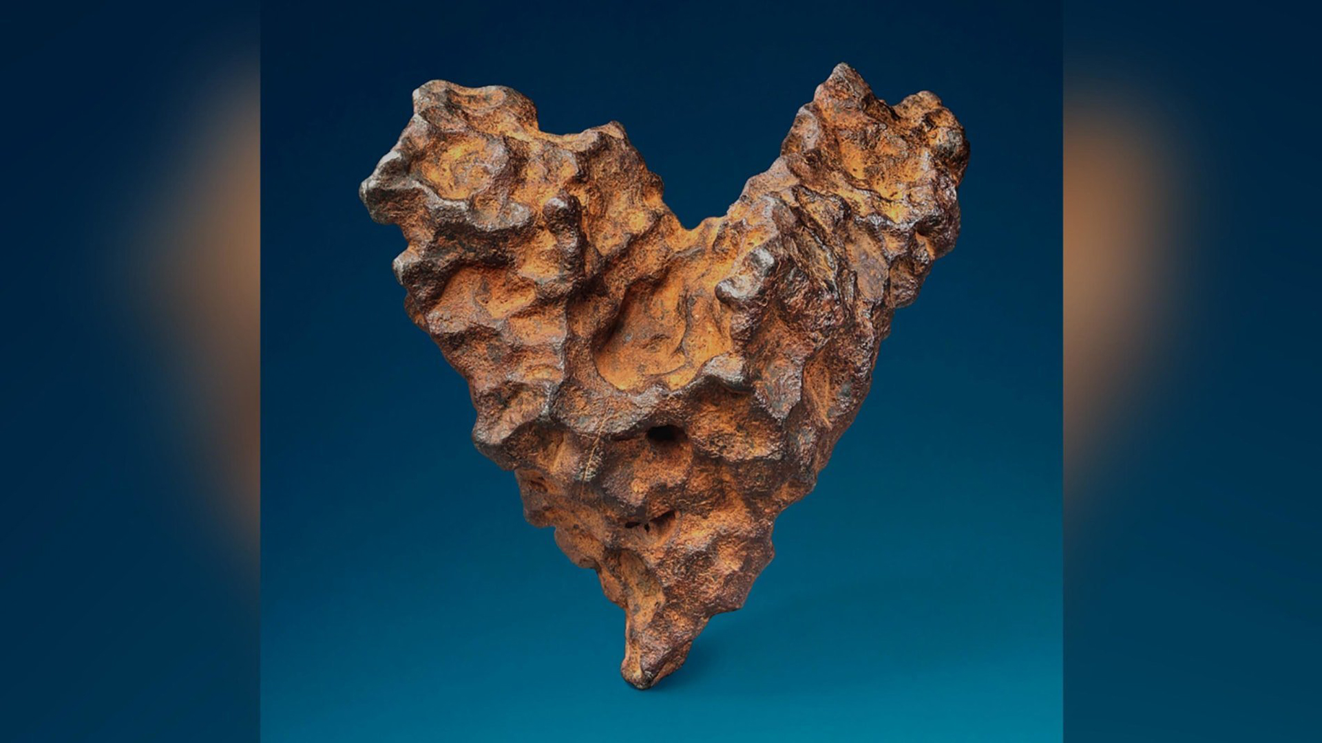 Christie's will open online bidding on a heart-shaped meteorite on Feb. 6, 2019. The auction closes on Valentine's Day. (Credit: Christie's)