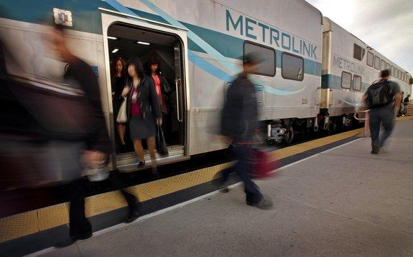 Incoming Metrolink passengers exit a train at Union Station in downtown Los Angeles in this undated photo. (Credit: Al Seib / Los Angeles Times)
