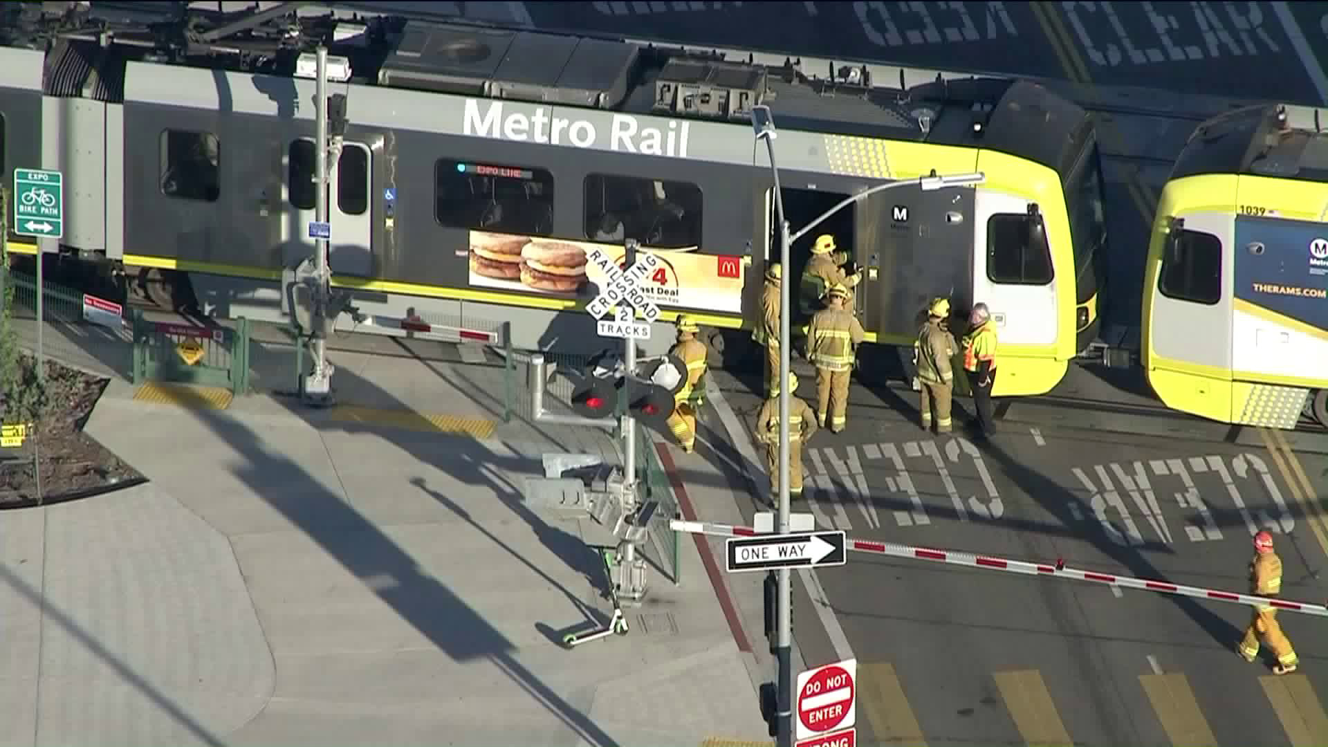 Emergency crews respond to a train incident in Rancho Park on Jan. 2, 2019. (Credit: KTLA)