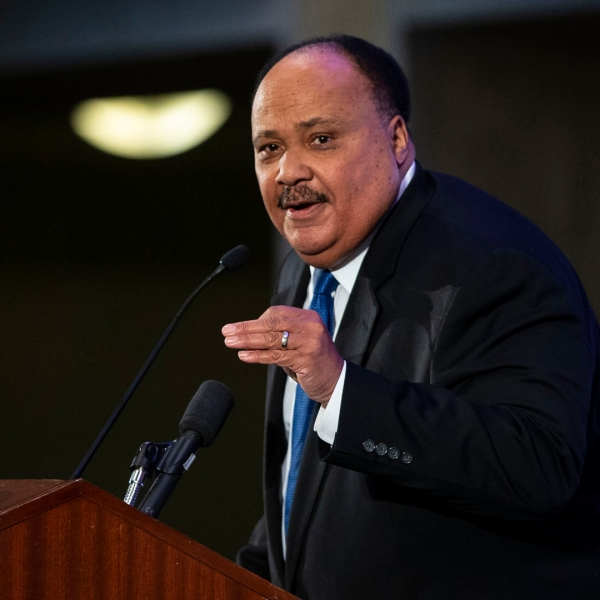 Martin Luther King III speaks at the annual National Action Network Breakfast on Jan. 21, 2019, in Washington, D.C. (Credit: Al Drago/Getty Images)