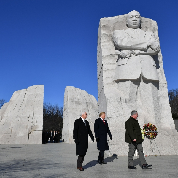 President Donald Trump and Vice President Mike Pence visit the Martin Luther King Jr. Memorial in Washington, DC on Martin Luther King Day on January 21, 2019. (Credit: MANDEL NGAN/AFP/Getty Images)