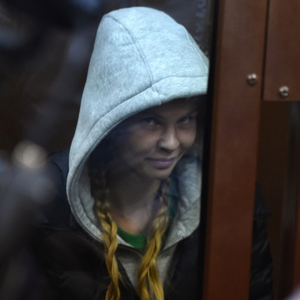 """Belarusian model Anastasia Vashukevich, known as Nastya """"Rybka"""", attends a hearing at a courthouse in Moscow, on Jan. 19, 2019. (Credit: VASILY MAXIMOV/AFP/Getty Images)"""