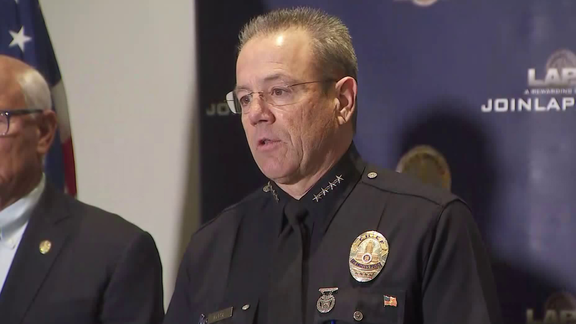 LAPD Chief Michel Moore speaks at a news conference on Jan. 28, 2019. (Credit: KTLA)