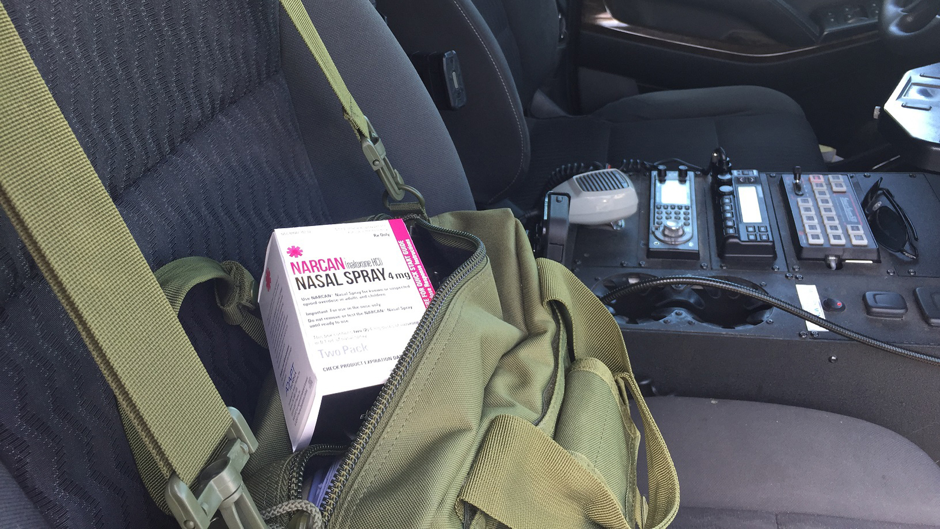 A package of Naloxone spray, used to combat the effects of opioid overdose, is seen in a Santa Barbara County Sheriff's Office patrol car in a photo released by the agency on Jan. 25, 2019.