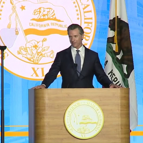 Gov. Gavin Newsom delivers remarks after being sworn in as California's 40th governor. (Credit: CNN)