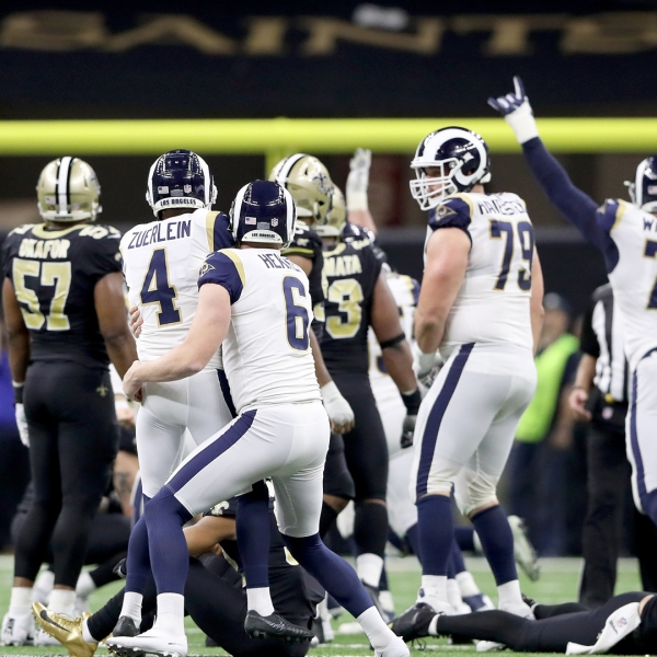 Greg Zuerlein #4 of the Los Angeles Rams celebrates after kicking the game winning field goal in overtime against the New Orleans Saints in the NFC Championship game at the Mercedes-Benz Superdome on January 20, 2019 in New Orleans. (Credit: Streeter Lecka/Getty Images)