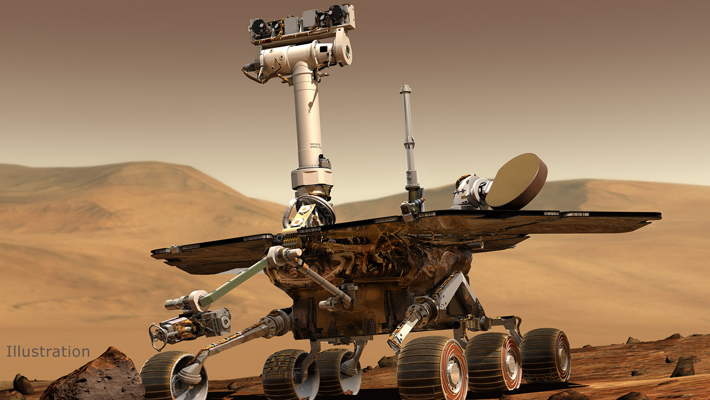 An artist's rendering depicts the Mars rover, Opportunity. (Credit: NASA/JPL/Cornell University)
