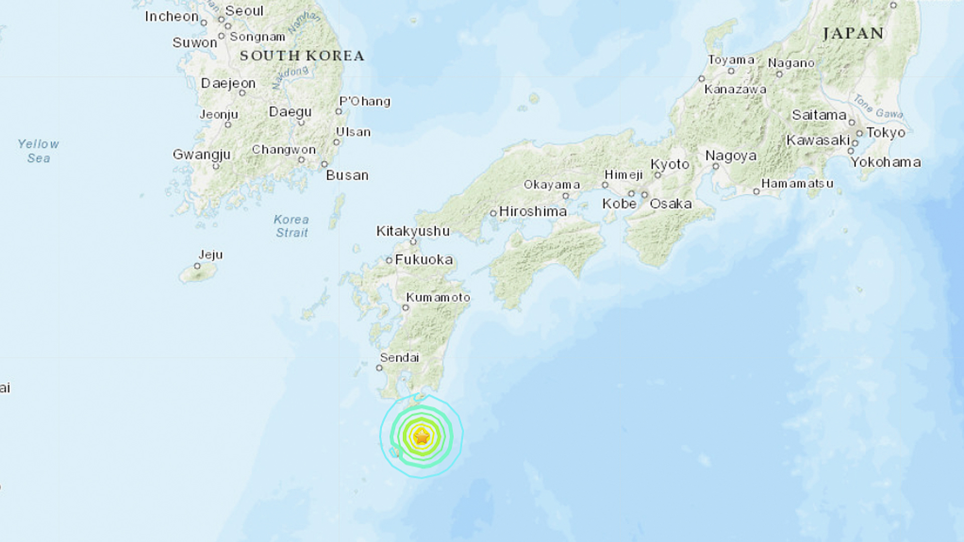 The U.S. Geological Survey said the quake struck near southern Japan Tuesday evening and had a preliminary magnitude of 6.3. (Credit: U.S.G.S.)