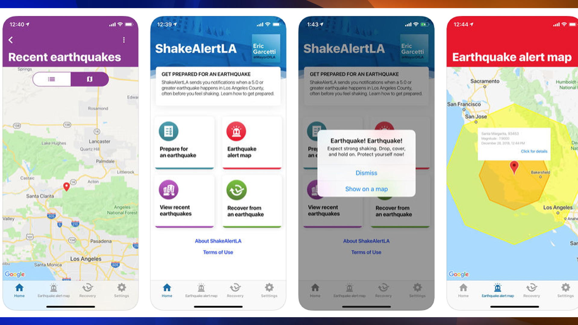 Interfaces of ShakeAlertLA app are seen in a screenshot taken from the Apple's App Store on Jan. 3, 2019.