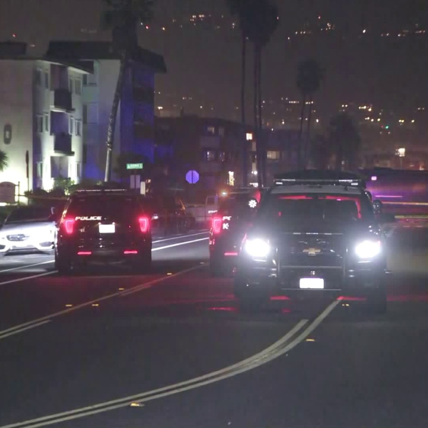 Authorities respond to investigate a police shooting in Redondo Beach on Jan. 8, 2019. (Credit: KTLA)