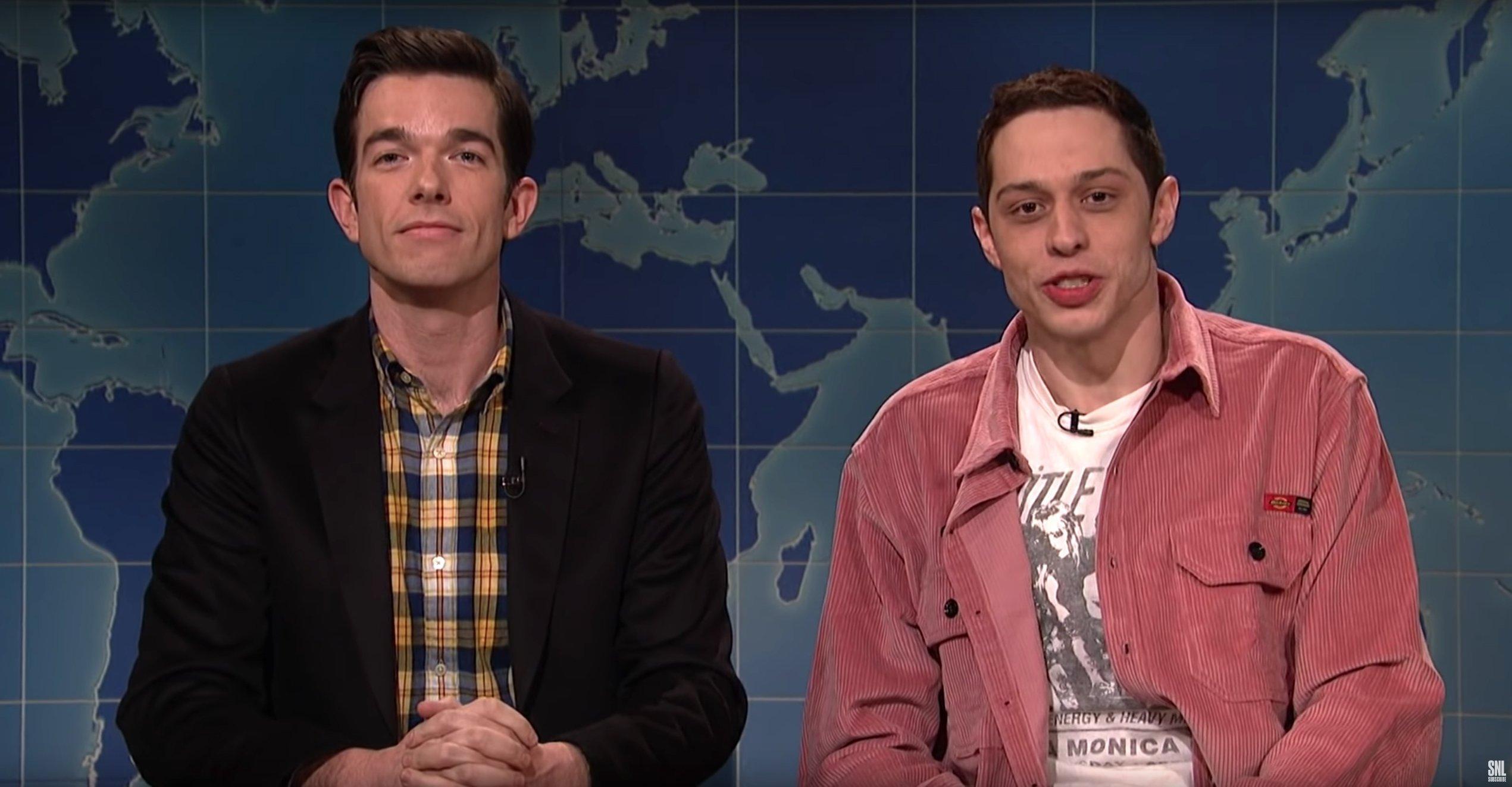 "Pete Davidson, right, appears on ""Saturday Night Live"" alongside John Mulaney on Jan. 19, 2019. (Credit: Saturday Night Live/YouTube)"
