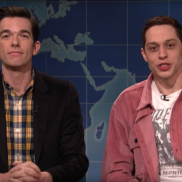 "Pete Davidson, right, appears on ""Saturday Night Live"" alongside John Mulaney on Jan. 19, 2019. (Credit: Saturday Night Live/YouTube)"