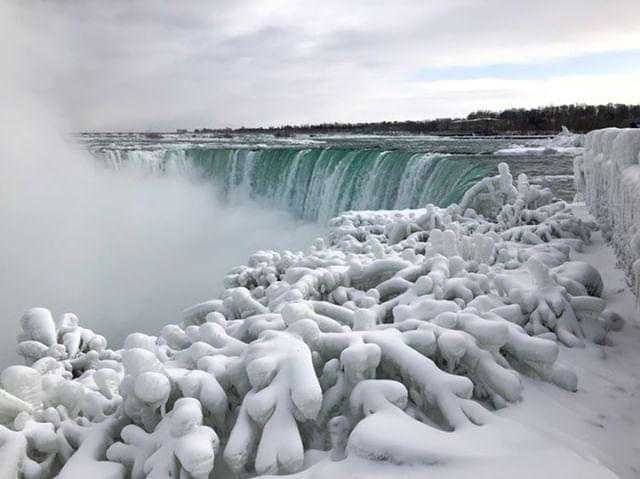 It's so cold, parts of Niagara Falls are frozen. (Credit: @ingegroot/Instagram via CNN Wire)