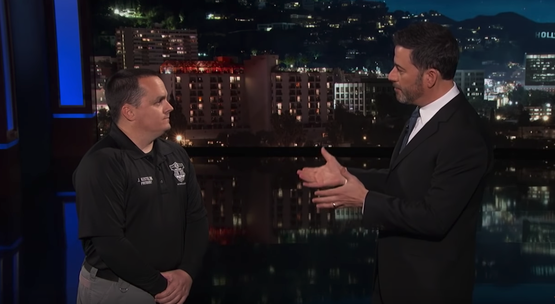 Jimmy Kimmel speaks to John Kostelnik, who is employed as a prison guard at the Federal Correctional Complex, on Jimmy Kimmel Live on Jan. 7, 2019. (Credit: Jimmy Kimmel Live on YouTube)