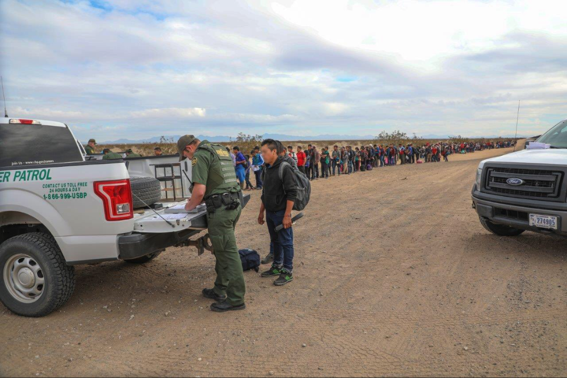 Part of a group of 376 migrants arrested along the U.S.-Mexico in Arizona is seen in a photo released by Customs and Border Protection.