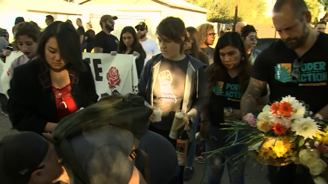 Community members gather for a vigil on Jan. 19, 2019, in honor of Antonio Arce, a 14-year-old boy fatally shot by police four days before in Tempe, Arizona. (Credit: KPHO via CNN)
