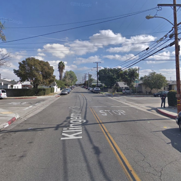 The intersection of Klingerman Street and Continental Avenue in South El Monte, as seen in a Google Street View image in November of 2017.