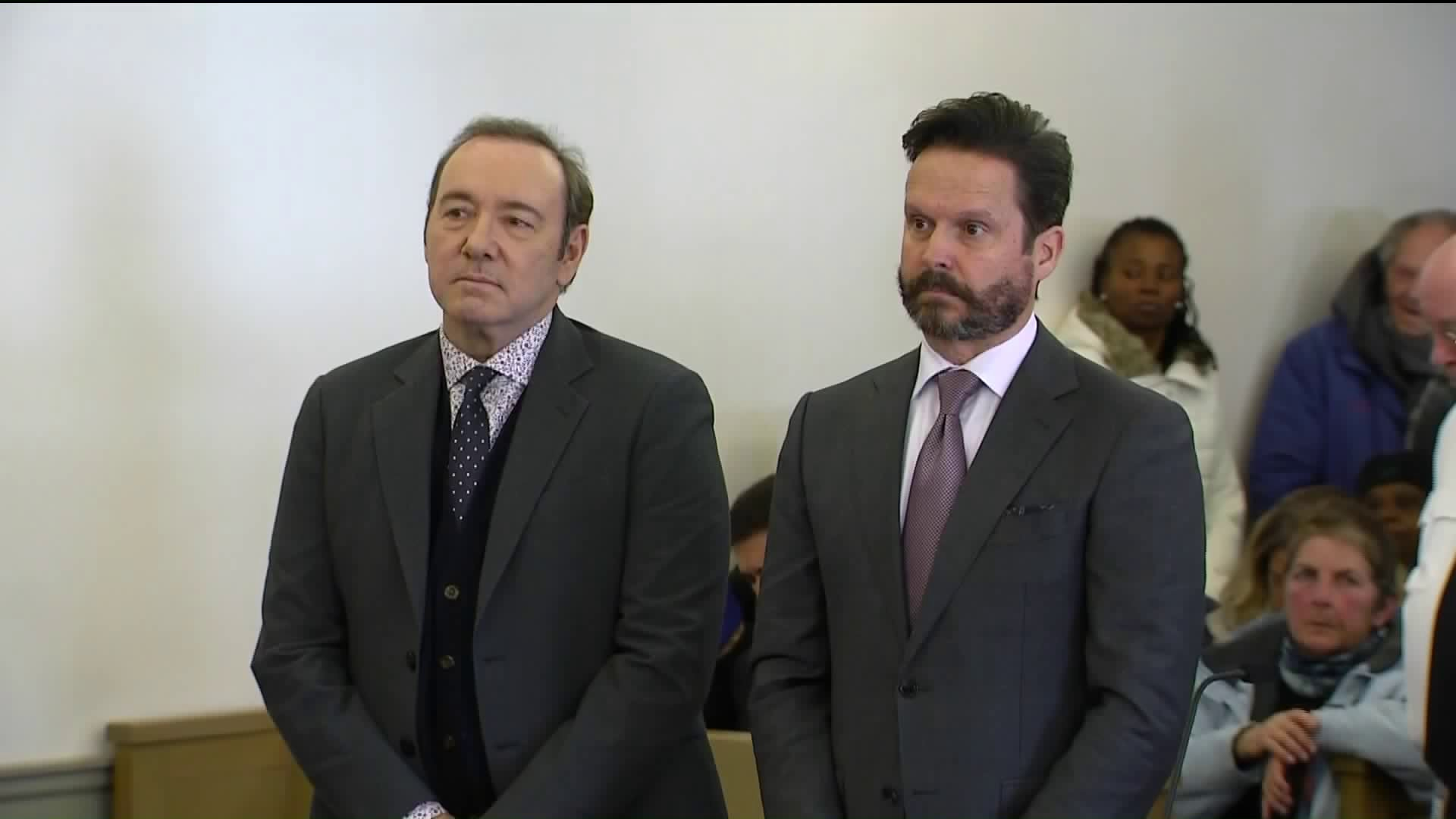 Kevin Spacey appears in a Massachusetts court on Jan. 7, 2019, to answer accusations he groped a young man in 2016. (Credit: CNN)