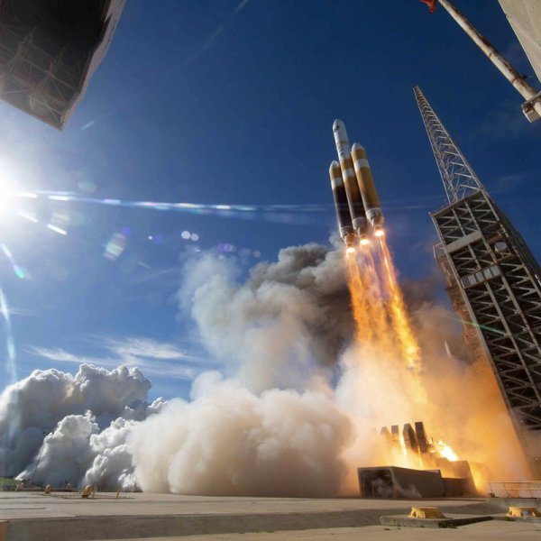 United Launch Alliance tweeted this image of a Delta IV Heavy rocket lifting off from Vandenberg Air Force Base on Jan. 19, 2019.