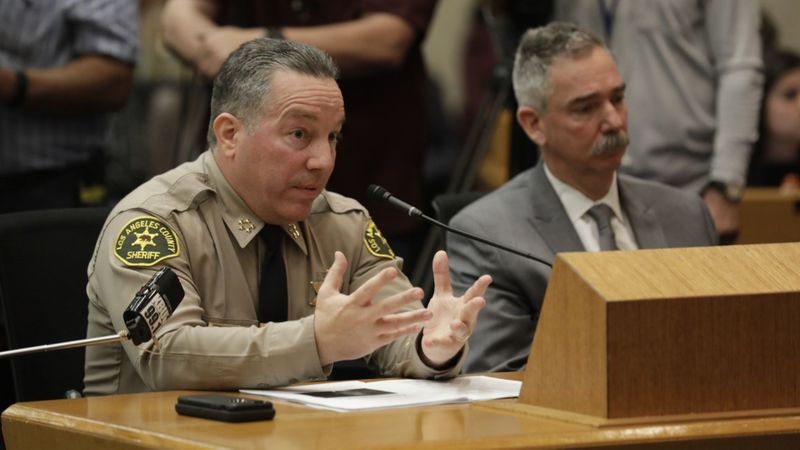 L.A. County Sheriff Alex Villanueva speaks in front of L.A. County Board of Supervisors on Jan. 29, 2019 about his controversial reinstatement of a deputy who had served as his campaign aide and who had been fired in connection with allegations of domestic violence. (Credit: Katie Falkenberg / Los Angeles Times)