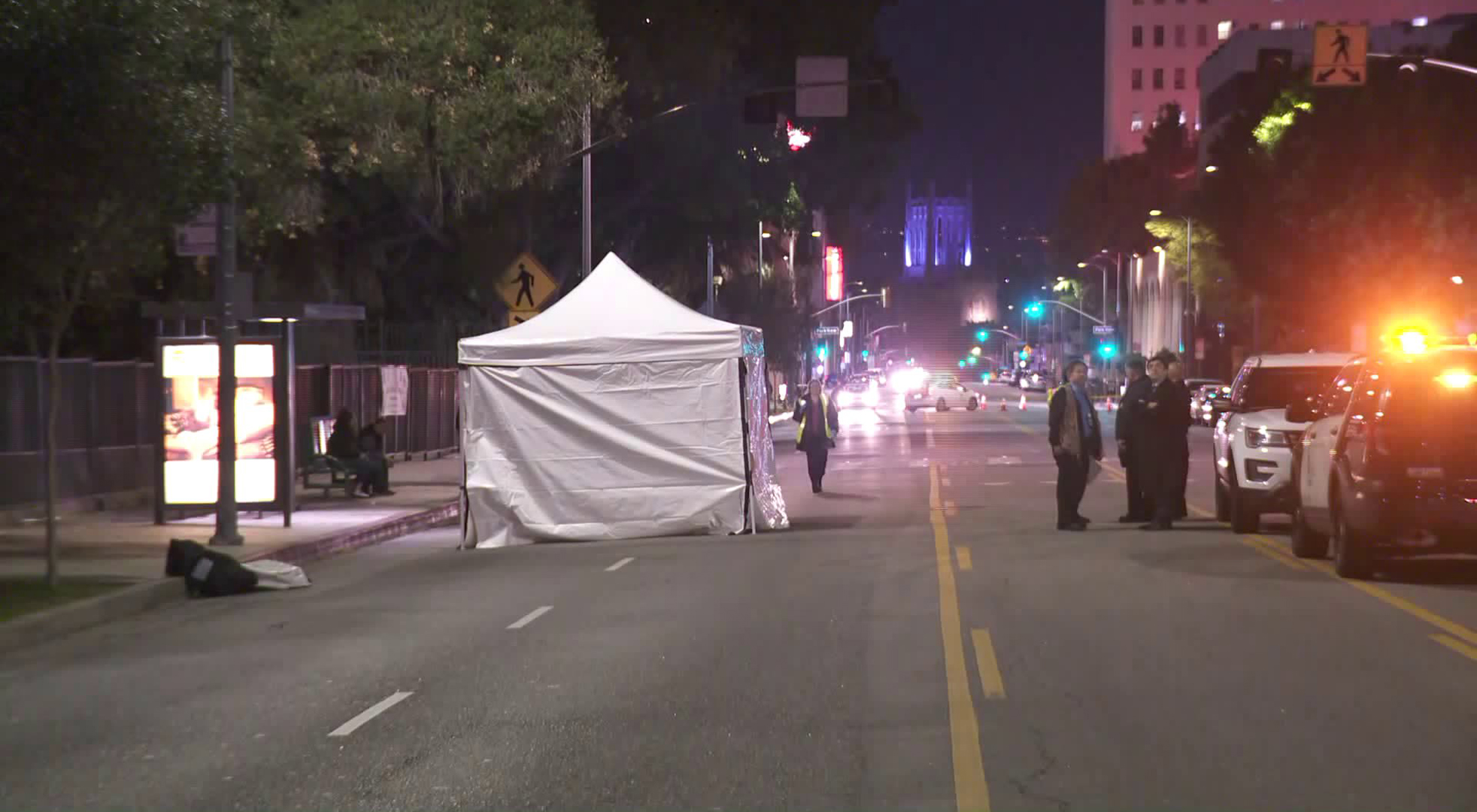 LAPD officials investigate the scene of a fatal crash in the Westlake neighborhood on Jan. 23, 2019. (Credit: KTLA)