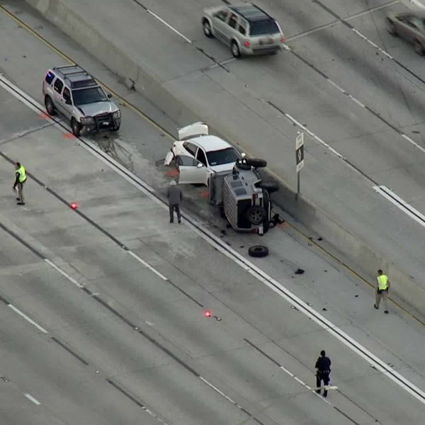 A multivehicle crash is seen on the 605 Freeway in Baldwin Park on Feb. 6, 2019. (Credit: KTLA)