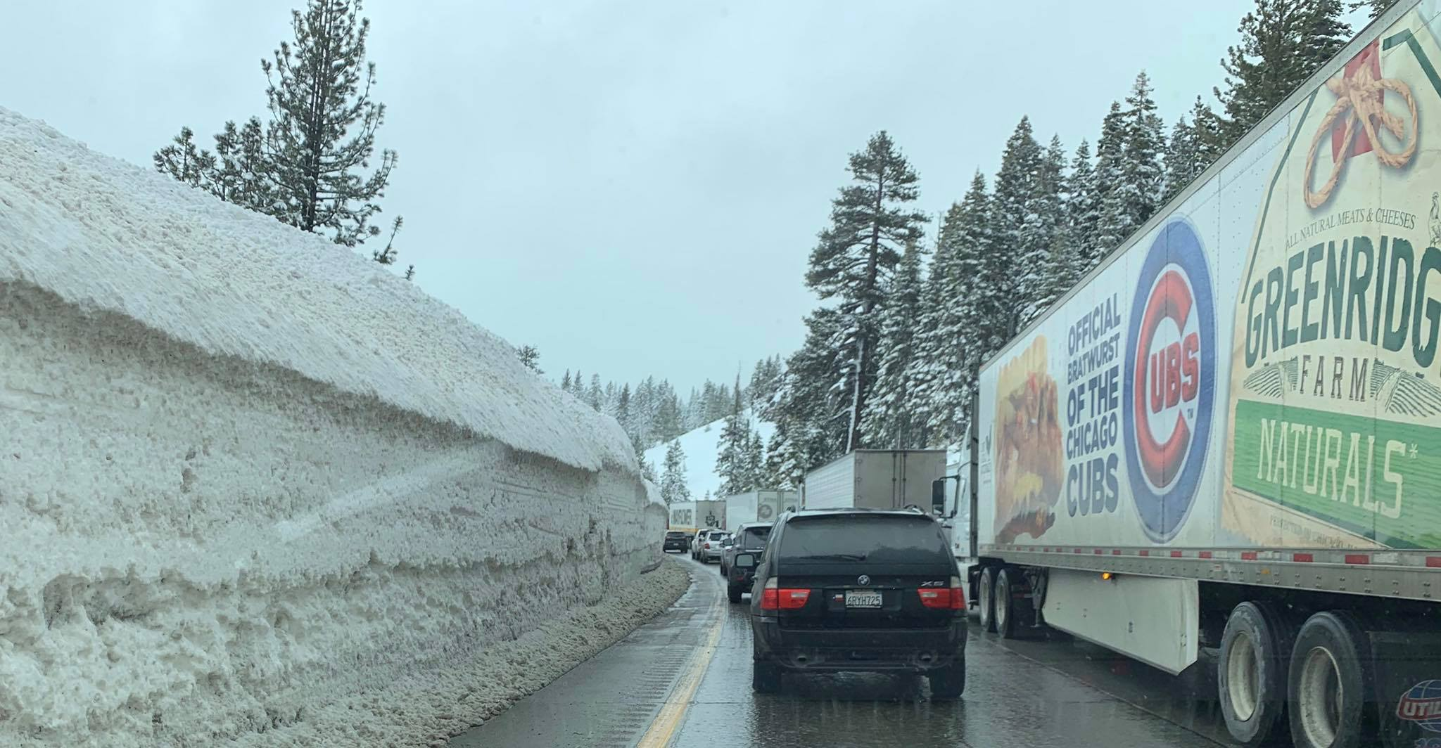 Vehicles drive through Interstate 80 in the Donner Pass area of the Sierra Nevada west of Truckee on Feb. 28, 2019. (Credit: California Highway Patrol Truckee Division/ Facebook)