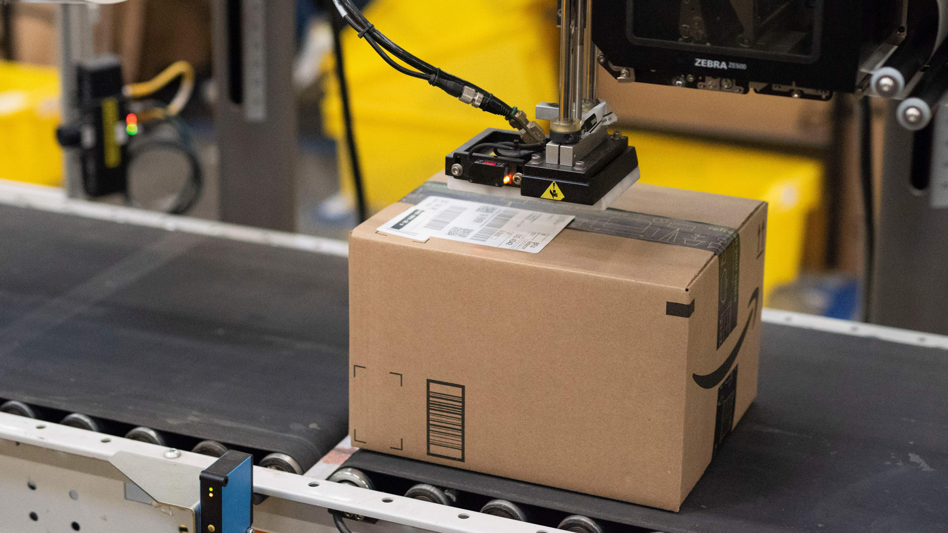 A package is labeled at Amazon's Fulfillment Center in Kent, Washington, on, September 21, 2018. (Credit: GRANT HINDSLEY/AFP/Getty Images)