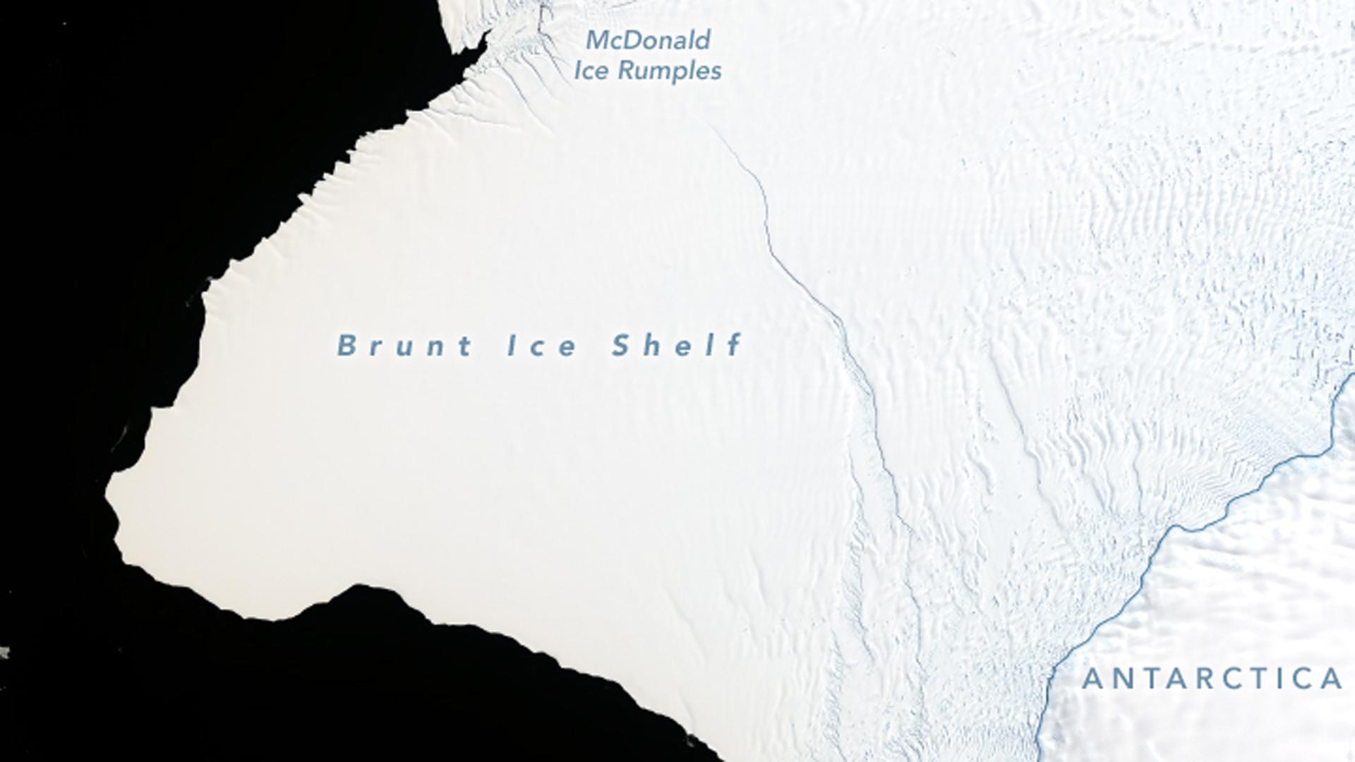 NASA released this image showing cracks growing across Antarctica's Brunt Ice Shelf.