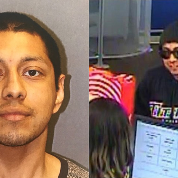 Marco Antonio Arrango, 23, of San Marcos (left), pictured in a booking photo released by the Newport Beach Police Department following his arrest on Feb. 21, 2019. At right, a man alleged to me Arranga is seen in a surveillance image carrying out a bank robbery in Newport Beach on Feb. 8, 2019. (Credit: Newport Beach Police Department)
