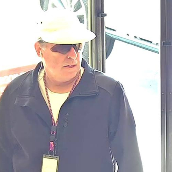 The suspect in an attempted robbery at a Huntington Beach bank on Feb. 6, 2019, is seen in this photo released by police a day later.