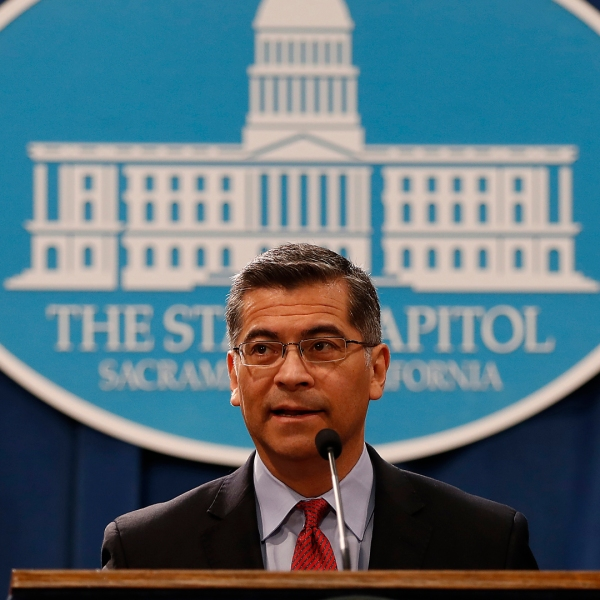 California Attorney General Xavier Becerra speaks during a press conference at the California State Capitol on March 7, 2018 in Sacramento. (Credit: Stephen Lam/Getty Images)