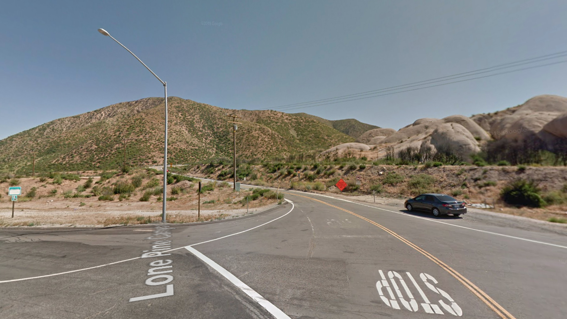 Lone Pine Canyon Road east of Highway 138 on the Cajon Pass is seen in a Google Maps Street View image from May 2018.
