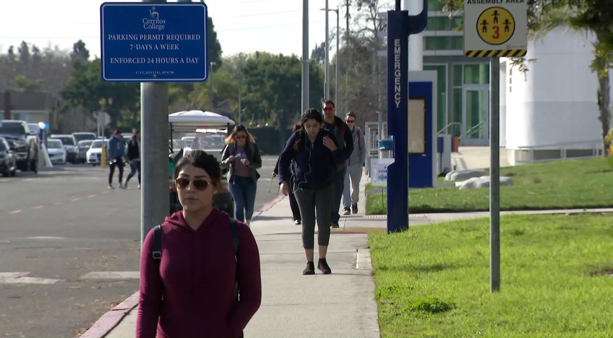 Students walk around Cerritos College in Norwalk on Feb. 12, 2019. (Credit: KTLA)