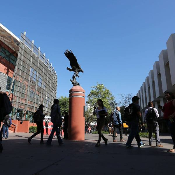Students walk on campus at California State University Los Angeles in an image posted to the school's Facebook page on Feb. 19, 2019.