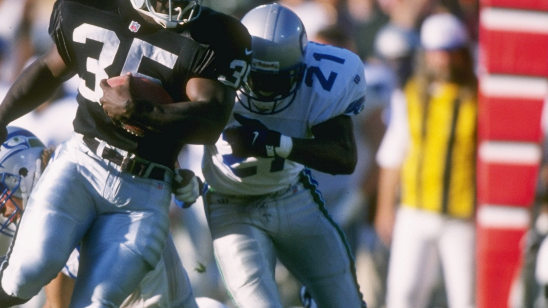 T.J. Cunningham #21 of the Seattle Seahawks is seen playing in a game against the Oakland Raiders in this undated file photo. (Credit: Getty Images)