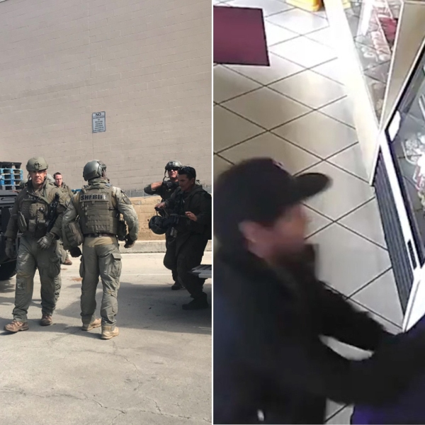 At right, a still from surveillance footage released by Los Angeles County sheriff's officials shows an attacker stabbing a 63-year-old man at a donut shop in Maywood on Feb. 10, 2019. Left, a SWAT team serves an arrest warrant at the suspect's Chino residence on Feb. 27, 2019, in a photo tweeted by the Sheriff's Department.