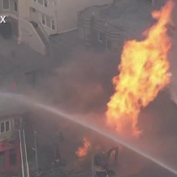 Firefighters battled a blaze in San Francisco on Feb. 6, 2019. (Credit: KPIX)