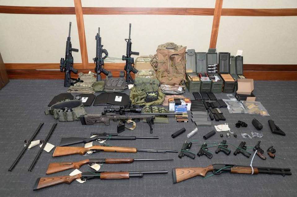 Federal agents found 15 firearms and over 1,000 rounds of ammunition when Christopher Paul Hasson was arrested. He was suspected of a major domestic terror attack. (Credit: U.S Attorney's Office in Maryland via CNN)
