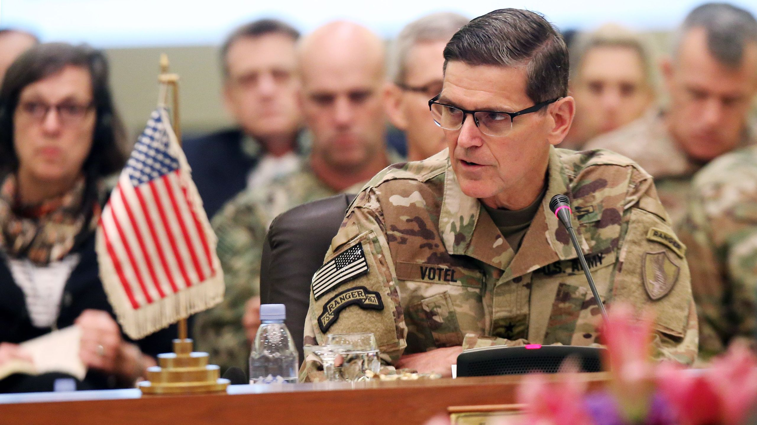Joseph Leonard Votel speaks during a meeting with the Gulf cooperation council's armed forces chiefs of staff in Kuwait City on Sep. 12, 2018.(Credit: Yasser Al-Zayyat/AFP/Getty Images)