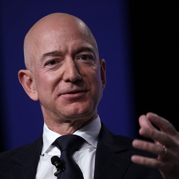 Amazon CEO Jeff Bezos, founder of space venture Blue Origin and owner of The Washington Post, participates in an event hosted by the Air Force Association September 19, 2018 in National Harbor, Maryland. (Credit: Alex Wong/Getty Images)