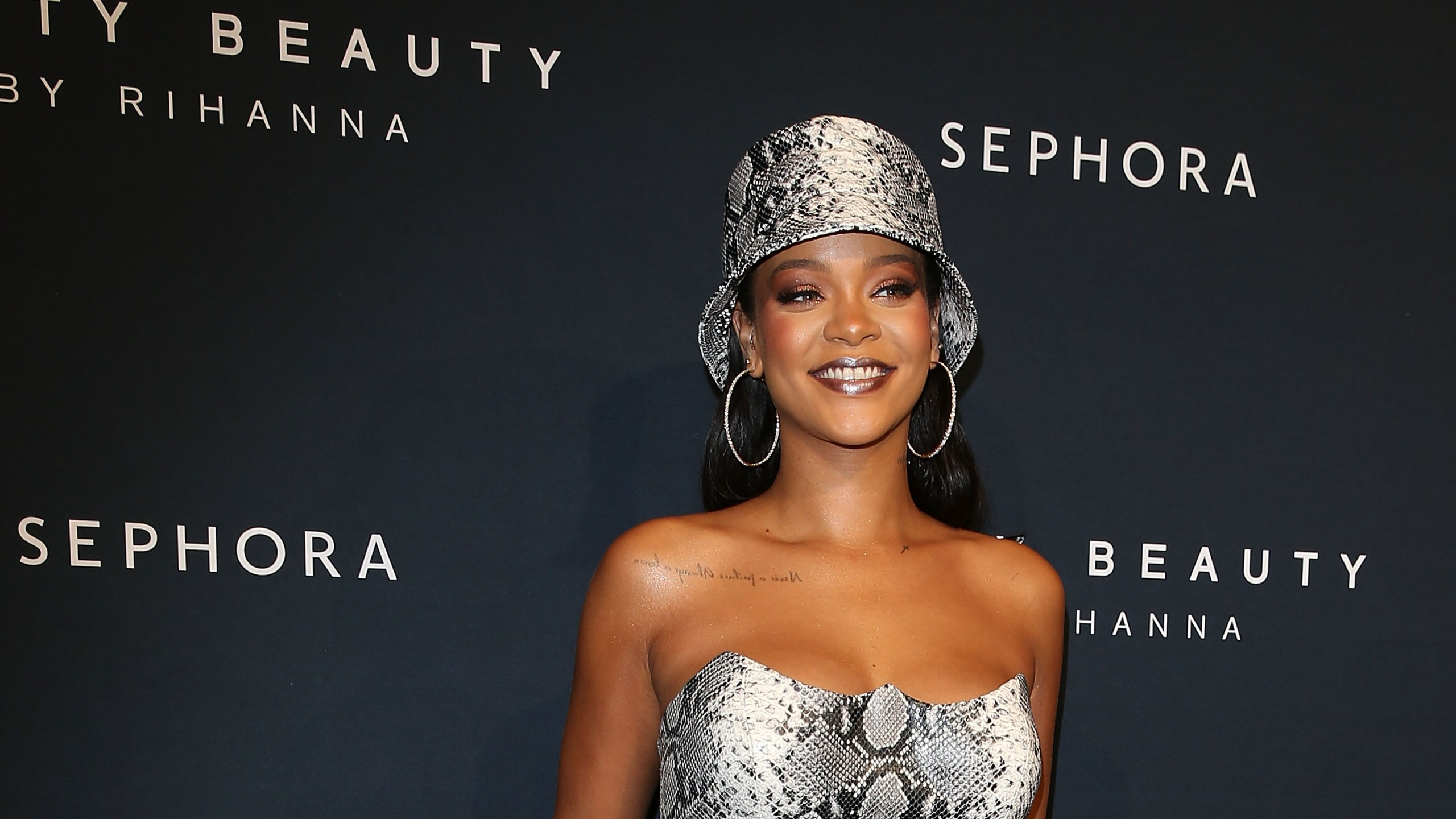 Rihanna attends an event in Sydney, Australia on Oct. 3, 2018. (Credit: Caroline McCredie/Getty Images for Fenty Beauty by Rihanna)
