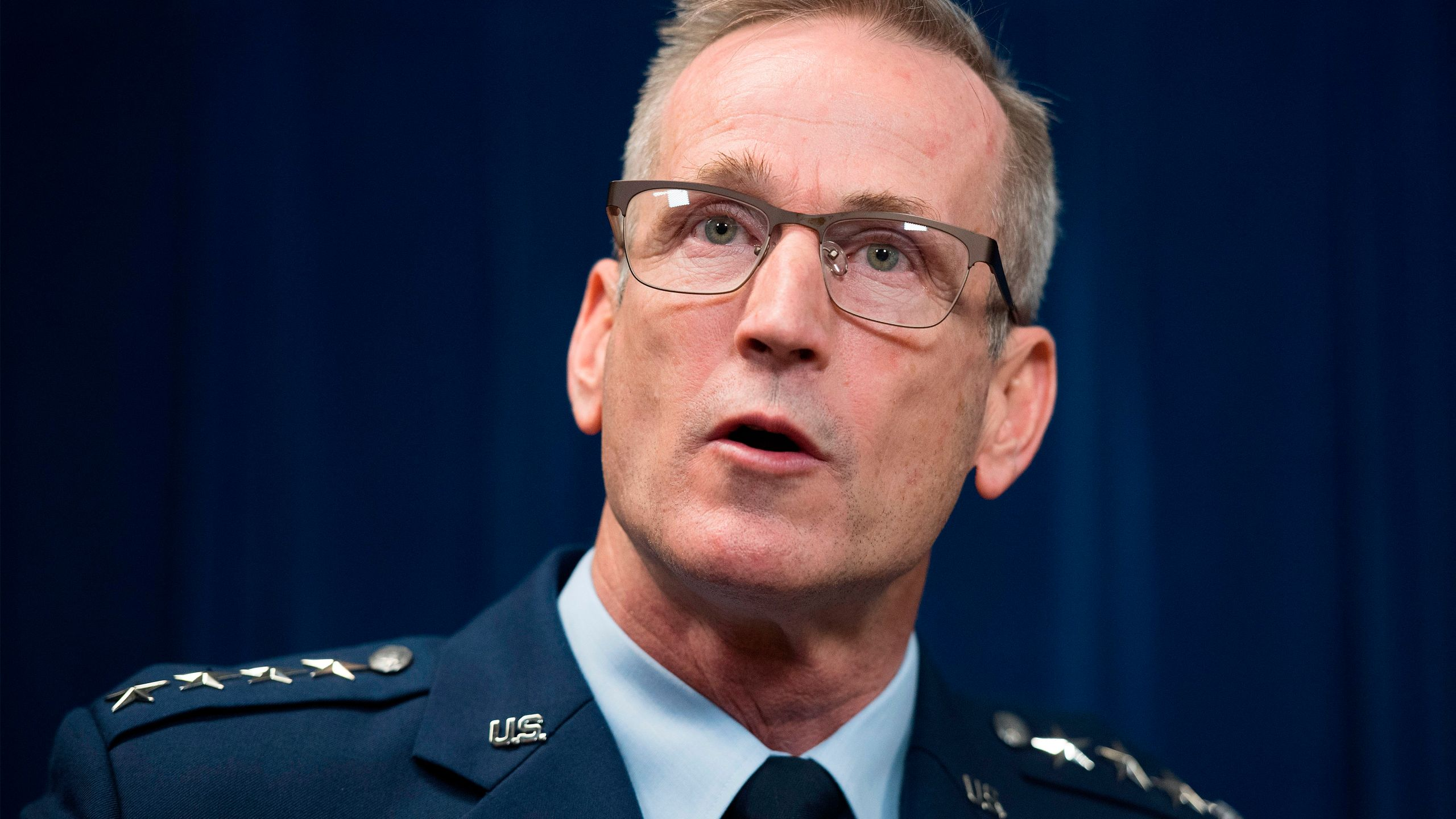North American Aerospace Defense Command General Terrence John O'Shaughnessy speaks about the Department of Defense deployment to the Southwest border during a press conference in Washington, D.C. on Oct. 29, 2018. (Credit: Jim Watson/AFP/Getty Images)