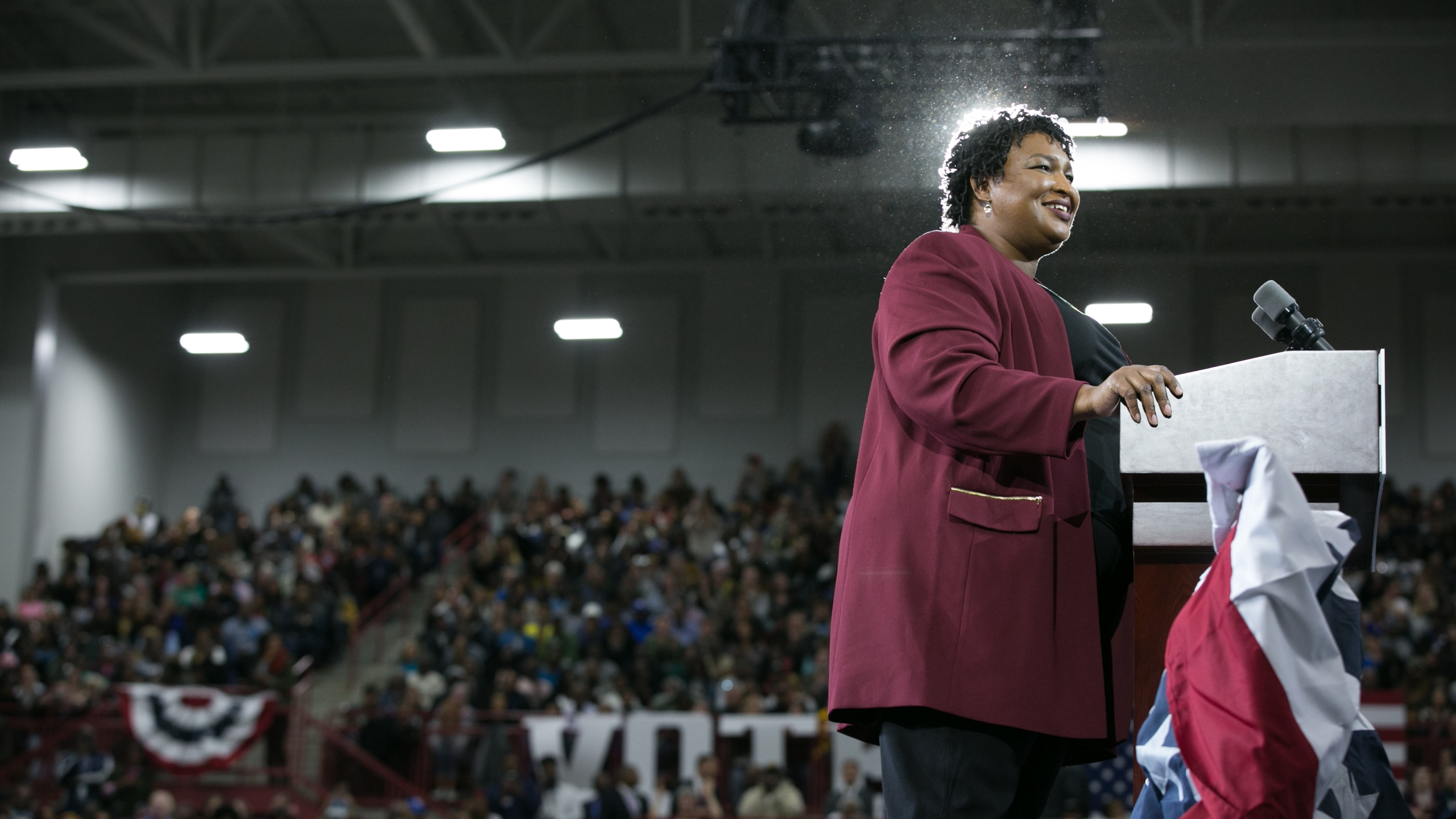 Georgia Democratic Gubernatorial candidate Stacey Abrams gives a speech to the crowd gathered for a campaign rally with former President Barack Obama at Morehouse College in Atlanta on Nov. 2, 2018. (Credit: Jessica McGowan / Getty Images)
